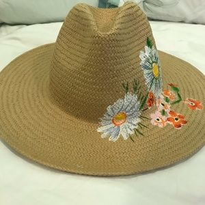 Floral painted sun hat Anthropologie